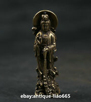 51MM Small Curio Chinese Bronze Buddhism Kwan-yin Guan Yin Lotus Flower Pendant