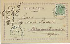 """ÖSTERREICH ORTSSTEMPEL """"KOMOTAU - AUSSIG / 137"""" Bahnpost-K2 Pra.-Postkarte 1907"""