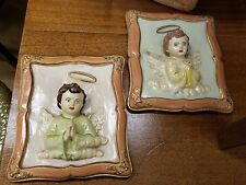 2 Gianetti Hand Painted Vintage 3-d Chalkware Cherub Angel Relief Wall Plaques