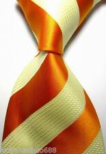 New Classic Stripes Orange Beige JACQUARD WOVEN 100% Silk Men's Tie Necktie