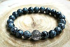 Mens Womens Genuine AAA Snowflake Obsidian Tibetan Mantra Gemstone Bracelet UK