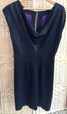 OASIS Black Silk Dress Cowl Neck Front Size 12 Short Wide Sleeves Purple Lined
