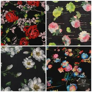 """Floral Rose Leaves Spring Coloured Scuba Jersey Stretch Fabric, High Quality 60"""""""