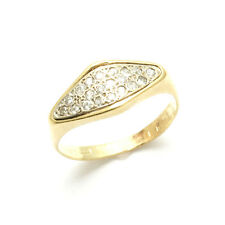 Vintage 14k yellow white gold CZ pave rhombus ring two tone Estate pinky ring