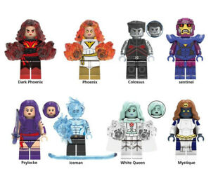 Avengers Marvel X Men Iceman Mystique Phoenix White Queen Building Blocks Toys
