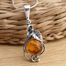 Cognac Baltic Amber 925 Sterling Silver Stylish Pendant Jewellery