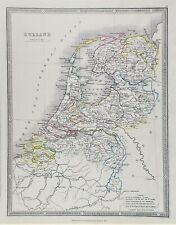 OLD ANTIQUE MAP HOLLAND NETHERLANDS c1852 by GEORGE PHILIP ORIGINAL HAND COLOUR