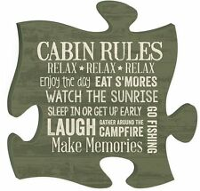"PUZZLE PIECE CABIN RULES, Wooden Interlocking Wall Sign, 12"" x 12"""