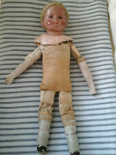 Rare Antique French Boudoir Mannequin Doll~Primitive Porcelain/Linen Textil 1800
