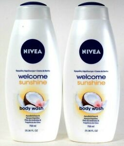 2 Bottles Nivea 25.36 Oz Welcome Sunshine Almond Oil & Coconut Scent Body Wash