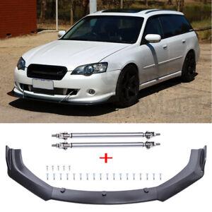 For Subaru Liberty 2000-2010 3Pcs Front Bumper Lip Splitter Spoiler + Strut Rods