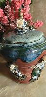 Antique Japanese Sumida Gawa Lidded Pot.  3 Figures. REPAIRED.