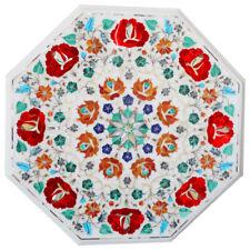 "15""x15"" Marble Table Top Pietra dura stones Inlay work Home Decor"