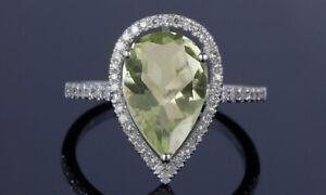 4.00 CTTW Genuine Green Amethyst Gemstone Pear Cut Sterling Silver Ring