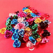 75pcs ROSES threadable MIXED COLOURS 12mm - craft beading embellishments sewing