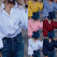 Women Long Sleeve Button Down V Neck Loose Tops T-Shirt Solid Casual Blouse Plus
