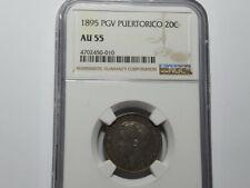 Puerto Rico 1895 PGV, Alfonso XIII 20 Centavos, Silver Coin,NGC AU 55