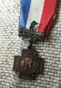 1898-1902 Spanish American War Veteran Medal Cuba USA Porto Rico Philippines Min