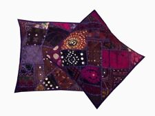"16""-2 Purple Trendy Banjara Vintage Miror Embroidery Throw Cushion Pillow Covers"