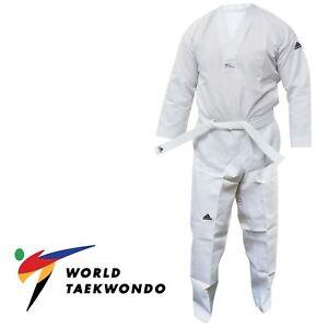 Adidas Taekwondo Suit Adult WT Approved Student Dobok Men White Training Uniform