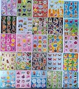 6 Packs Childrens Kids Sticker Sheets Party Bag Fillers  Choose From 34 Designs