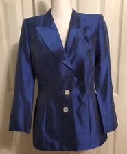 Escada Margaretha Ley Blue Silk Blazer Size 38 US 8 2 Button