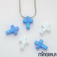 [WHOLESALE] SYNTHETIC LAB CREATED OPAL CROSS SHAPE BEADS FULL DRILL PENDANT