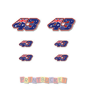 Jack Miller No 43 6 sticker pack 80mm & 40mm quality water & fade proof vinyl