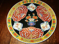 "Famille Noir Kangxi Style 15 5/8""W Charger Signed Made in Japan"
