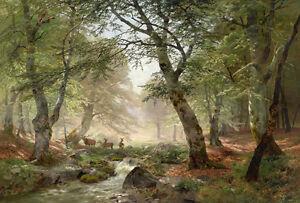 Dream-art Oil painting Heinrich Bohmer nice summer landscape deer stream forest