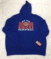 NBA Mens Size 2XL New York Knicks Primary Logo Long Sleeve Pullover Hoodie Blue