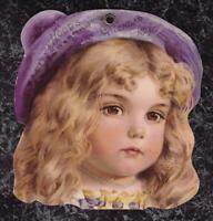 Victorian 1897 Calendar Top Hood's Sarsaparilla Pretty Girl with Purple Tam