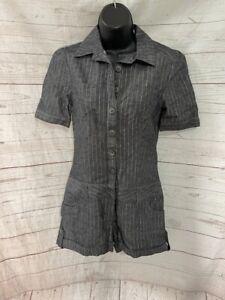 Wet Seal Premium Women's Gray Striped (Gold Stripes) Romper Size 5