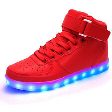 Unisex Women Men Gift 7 LED Light Up Shoes USB Luminous Casual High Top Sneakers