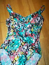 New Aqua Green Multi Color One Piece Swim Suit Size Small