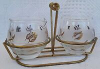 Vintage MCM Libbey CREAM & SUGAR & STAND Gold Frosted Leaf Pattern 1960s Glass