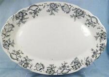 Antique Saratoga Black Transferware Platter Willets Mfg Co Flowers Large NICE