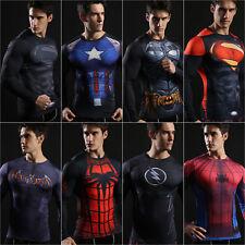 Mens Marvel T Shirt Superhero Compression Under Base Layer Tight Captain America