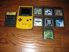 Nintendo Gameboy Color Yellow Dandelion Bundle + 7 Games,Rumble] Tested + Works