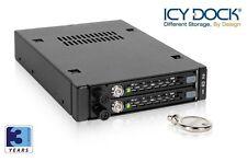 """New ICY Dock MB492SKL-B 2 bay Dual 2.5"""" SATA SAS HDD Hard Drive Mobile Rack"""
