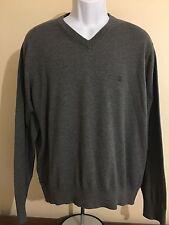 Michael Kors Men's V-Neck Cotton Sweater Size XL Gray, Soft Embroidered Logo
