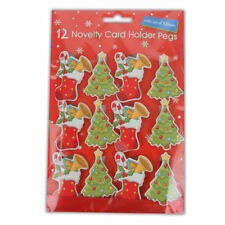 12 X Large Wooden Novelty Christmas Card Holder Pegs With 2m of ...