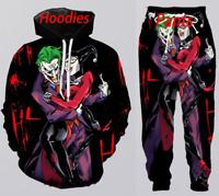 Mens Womens 3D Print Movie joker Sweatshirt Hoodies Jogging pants Sport Suits