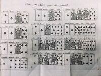 Jeux de Cartes anciens 1789 Rare Gravure ancienne Académie des Jeux