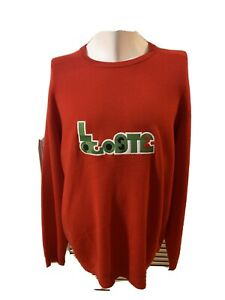$295 Lacoste Men's Red Long Sleeve Crew-Neck Croc Logo Wool Top Sweatshirt