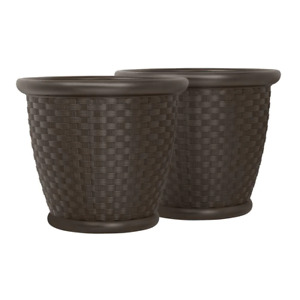 Sonora 22 in. Round Java Blow Molded Resin Planter Durable Lightweight 2 Pack