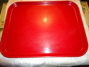 """vintage Cambro Camtray Red Mid Century Fiberglass Serving Tray 18""""x14"""" good shap"""
