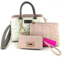 Betsey Johnson 4pc Set Heart Satchel & Wallet Crossbody Handbag Wristlet Floral