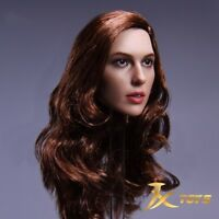 "1/6 Gal Gadot Wonder Woman Brown Hair Head Sculpt For 12"" Phicen Figure Body Toy"