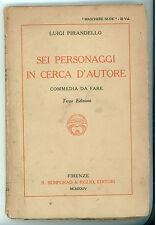 PIRANDELLO LUIGI SEI PERSONAGGI IN CERCA D'AUTRE BEMPORAD 1924 MASCHERE NUDE